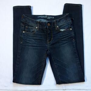 American Eagle skinny super stretch jeans. 0